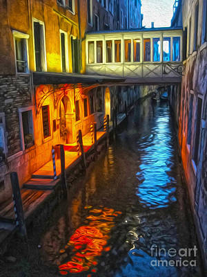 Venice Italy - Colorful Canal At Night Art Print by Gregory Dyer