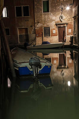 Photograph - Venice Italy And Boats At Night  by John McGraw