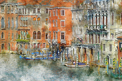 Photograph - Venice Italy Buildings And Boats by Brandon Bourdages
