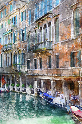 History Channel Digital Art - Venice Italy Buildings And Gondolas by Brandon Bourdages