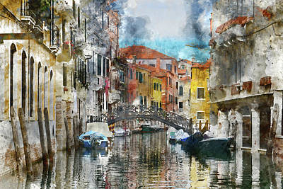 Photograph - Venice Italy Canals With Colorful Buildings by Brandon Bourdages
