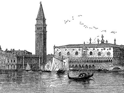 Venice Drawing - Venice, Italy, Engraved Vintage Drawing by Long Shot