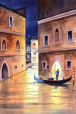 Italian Evening Painting - Venice Italy Evening Gondola Ride by Bill Holkham