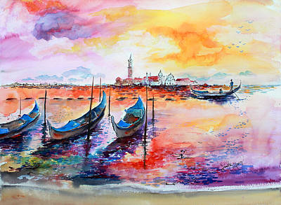 Painting - Venice Italy Gondola Ride by Ginette Callaway