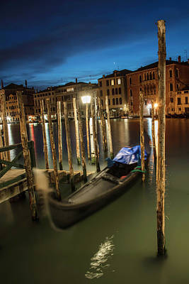 Photograph - Venice Italy Gondola At Blue Hour  by John McGraw