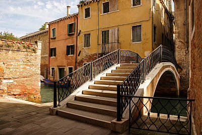 Photograph - Venice Italy - Intricate Wrought Iron Bridge by Georgia Mizuleva