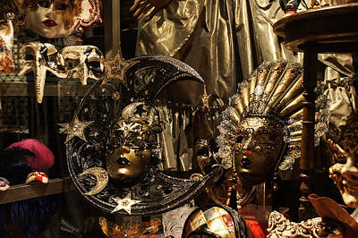 Photograph - Venice Italy - Sun And Moon Venetian Carnival Masks  by Georgia Mizuleva