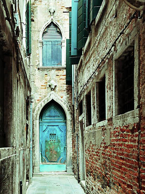 Photograph - Venice Italy Turquoise Blue Door  by Brooke T Ryan
