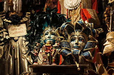 Photograph - Venice Italy - Venetian Carnival Masks Display by Georgia Mizuleva