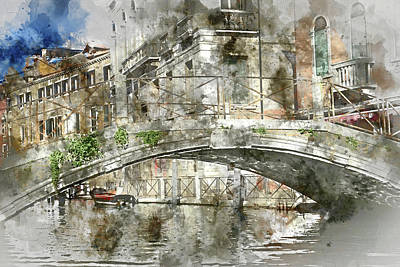 Painting - Venice Italy Digital Watercolor On Photograph by Brandon Bourdages