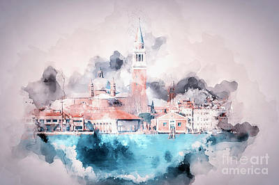 Digital Art - Venice Italy Watercolour by Jack Torcello