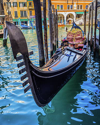 Photograph - Colorful Gondola Boat On Venice Italy River by William Shevchuk