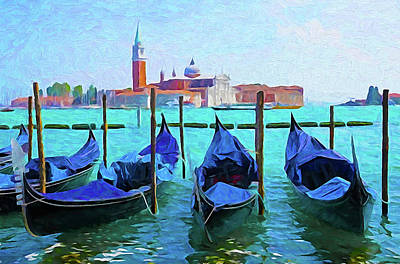 Digital Art - Venice Lagoon Gondolas by Dennis Cox WorldViews