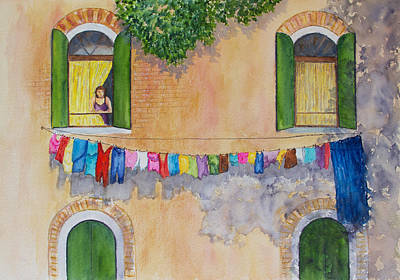 Painting - Venice Laundry Day by Patricia Beebe