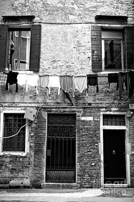 Photograph - Venice Laundry Mono by John Rizzuto
