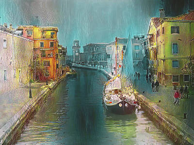 Digital Art - Venice Light Nights by Yury Malkov