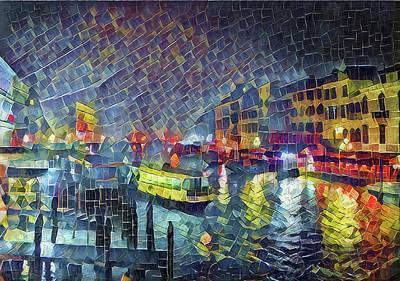 Digital Art - Venice Night Cubism by Yury Malkov