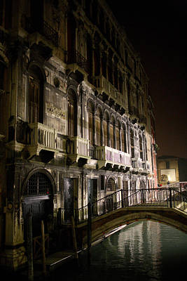 Gothic Bridge Photograph - Venice Night Scene by Neil Buchan-Grant