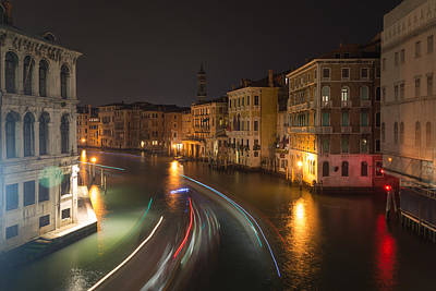 Photograph - Venice Night Traffic by Andrew Lalchan