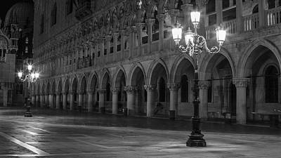 Photograph - Venice Piazza San Marco Black And Whte  by John McGraw