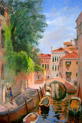 Reflections Oil Painting - Venice Ponte Moro by Ylli Haruni