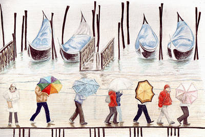 Rainy Day Drawing - Venice Rain by Julia Collard