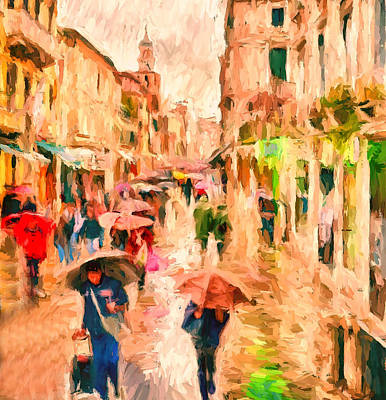 Digital Art - Venice Rain by Yury Malkov
