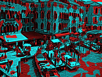 Urban Scenes Mixed Media - Venice Red And Blue by Daniel Hagerman