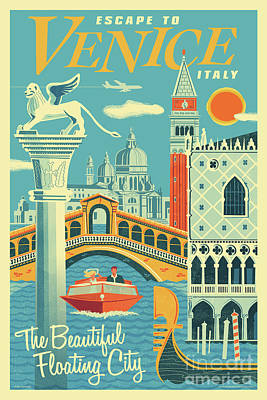 Digital Art - Venice Retro Travel Poster by Jim Zahniser