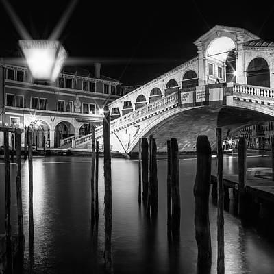 Venice Rialto Bridge At Night - Monochrome Art Print