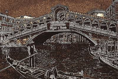 Drawing - Venice Rialto Bridge Gondola by Art America Gallery Peter Potter
