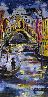 Painting - Venice Rialto Bridge Gondolier Oil Painting  by Ginette Callaway