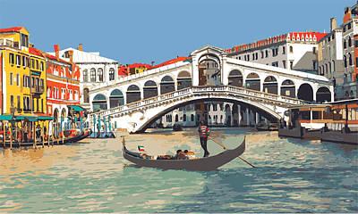 Digital Art - Venice- Rialto Bridge With Gondola by Inge Lewis