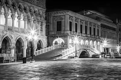 Venice Riva Degli Schiavoni By Night Black And White Art Print by Melanie Viola