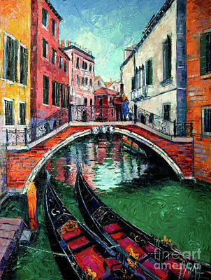 Painting - Venice Romance Impressionist Modern Palette Knife Oil Painting Cityscape by Mona Edulesco