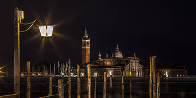 San Marco Photograph - Venice San Giorgio Maggiore At Night Panoramic View by Melanie Viola