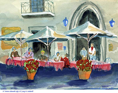 Table Cloth Painting - Venice Sidewalk Cafe  by Gary R Caldwell