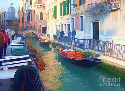 Print featuring the photograph Venice Sidewalk Cafe by Roberta Byram