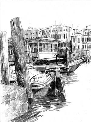 Drawing - Venice Sketches. Vaporetto Jetty by Igor Sakurov