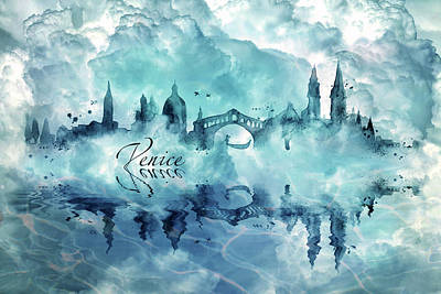 Digital Art - Venice Skyline 3 by Lilia D