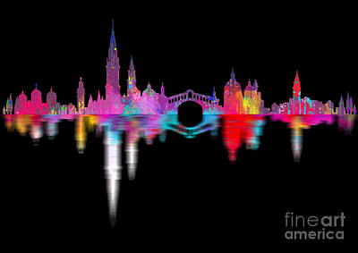 Old Digital Art - Venice Skyline  Italy Night by Prar Kulasekara
