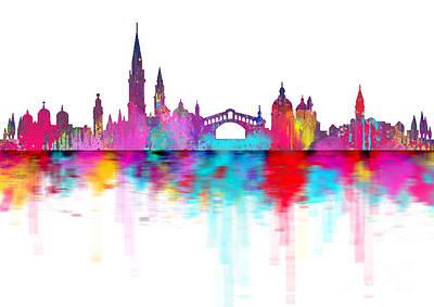 Faries Digital Art - Venice Skyline  Italy by Prar Kulasekara
