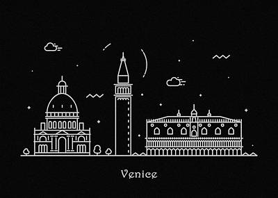 Drawing - Venice Skyline Travel Poster by Inspirowl Design