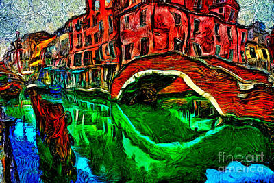 Painting - Venice Small Bridge by Milan Karadzic