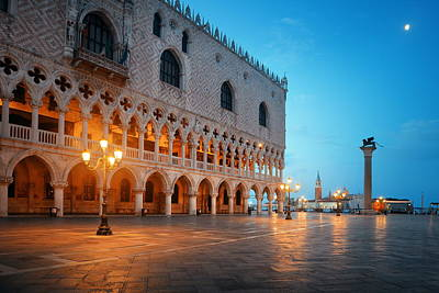 Photograph - Venice St Marks Square At Night by Songquan Deng