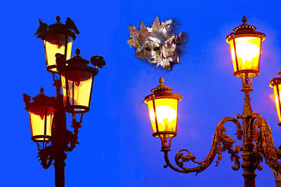Venice Photograph - Venice Street Lamps And Mask At Twilight by Jean-luc Bohin