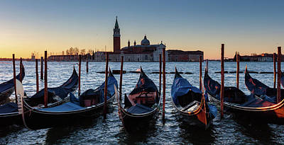 Photograph - Venice Sunrise With Gondolas by Evgeni Dinev