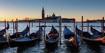 Photograph - Venice Sunrise With Gondolas by Evgeni Dinev