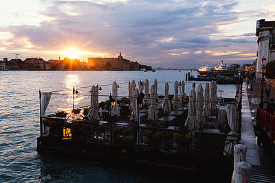 Venice Sunset  Art Print by George Oze