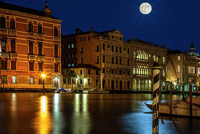 Super Moon Photograph - Venice Super Moon by Andrew Soundarajan